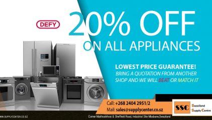 20% OFF on ALL DEFY Appliances!