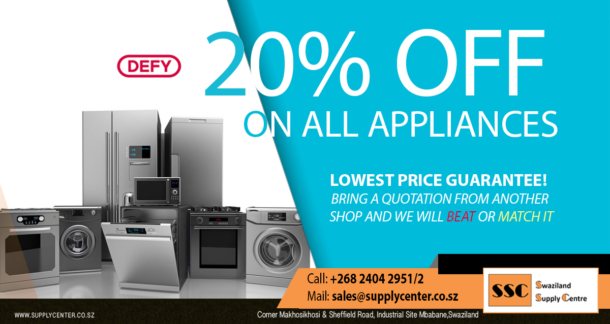 20% OFF on ALL DEFY Appliances!